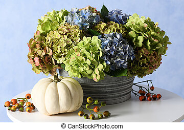 hydrangea flowers with white pumpkin