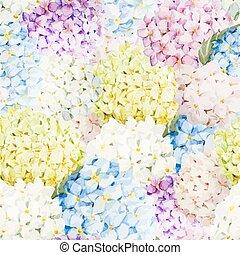 Hydrangea pattern - Beautiful watercolor vector hydrangea ...