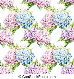 Beautiful watercolor vector hydrangea pattern different colors