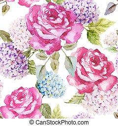 hydrangea, y, rosas