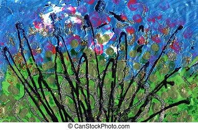 hydrangeas, abstract