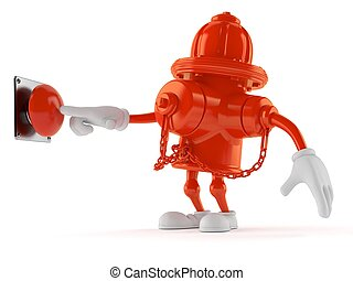 Hydrant character pushing button on white background