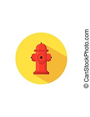Hydrant firefighter extinguish the fire icon in flat style isolated on white background. Vector Illustration