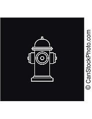 Hydrant firefighter extinguish the fire line icon in flat style isolated on black background. Vector Illustration
