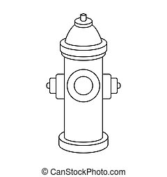 Hydrant icon in outline style isolated on white background. Dog symbol stock vector illustration.