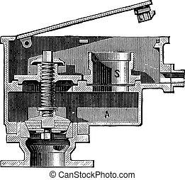 Hydrant Pump Steam, vintage engraving.