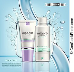 Hydration water cosmetic set Vector realistic. Product packaging mock up, Water splash backgrounds