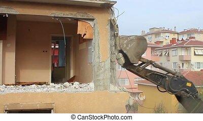 Hydraulic arm of excavator breaking