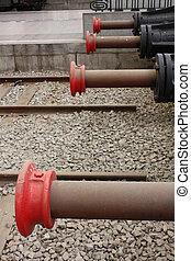 Hydraulic brakes for trains. Four Molehill hydraulic in...