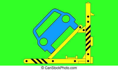 Hydraulic car jack to lift and repair vehicle. Green screen...