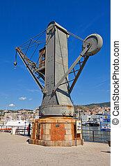 Hydraulic crane (1888). Old Port, Genoa, Italy