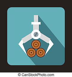 Hydraulic crane with log icon, flat style