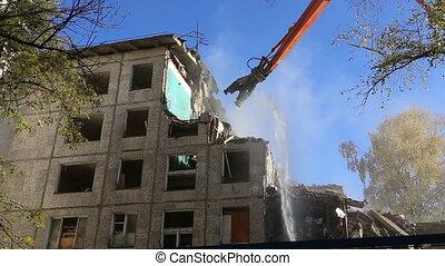 demolition old house - Hydraulic crusher excavator machinery...