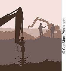Hydraulic drilling machine , construction machinery equipment vector background