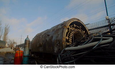 Hydraulic Drum and Gas Cylinders on Metal Scrapyard. Metal...