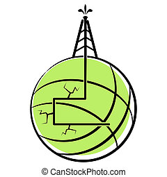 Hydraulic Fracking - An image of a globe with hydraulic...