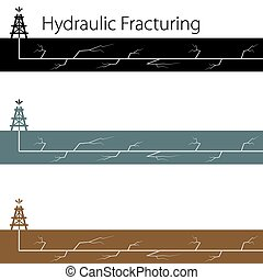 Hydraulic Fracking Banner Icon Set - An image of a hydraulic...