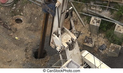 Hydraulic Hammer Drilling Machine - Aerial view of...