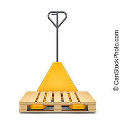 Hydraulic hand pallet truck wit isolated on white -...