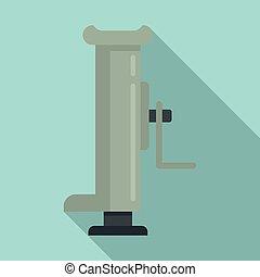 Hydraulic handle jack-screw icon, flat style - Hydraulic ...