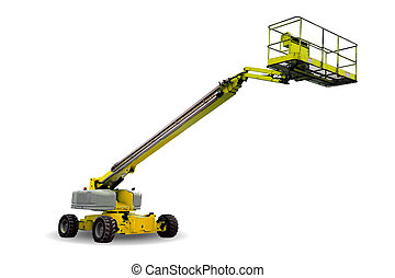 A yellow hydraulic lift isolated on white