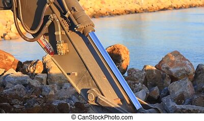 Hydraulic piston of the reach boom - Hydraulic excavator...
