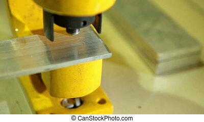 Hydraulic press closeup - Hydraulic machine makes...