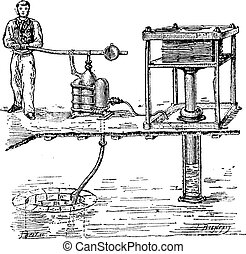 Hydraulic press or Bramah press vintage engraving