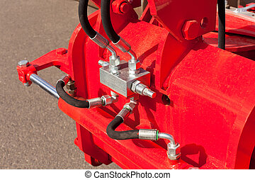 Hydraulic System Hoses on Farm Machine. Horizontal shot