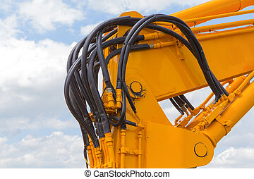 a portion of the hydraulic system of an excavator