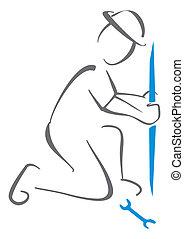 Illustration of plumber at work making plumbing repairs