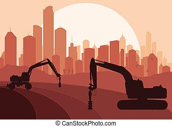 hydraulique, machine, construction, forage, machinerie