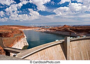hydro, 力, 電気のダム