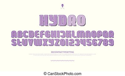 hydro - 3d style alphabet letters and numbers. vector font...