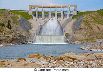 Hydro Electric Dam - The Oldman River hydro electric dam and...