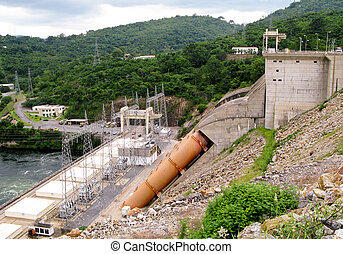 View of the dam and hydro-electric generators and pylons in Ghana in Africa