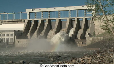 Hydro electric power dam - Wide shot of the Ghost Dam and...