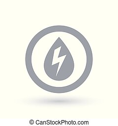Hydro electricity icon. Water drop with energy bolt symbol....