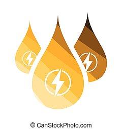 hydro, energia, gotas, ícone