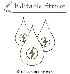 Hydro Energy Drops Icon. Editable Stroke Simple Design....
