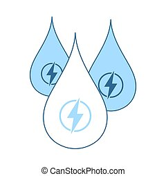 Hydro Energy Drops Icon. Thin Line With Blue Fill Design....