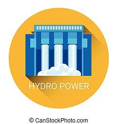hydro, estação, poder, ícone