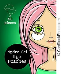Hydro Gel eye Patches ads. Vector Illustration with girl, package design