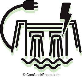 hydro, icono, potencia, eléctrico, proyecto, -