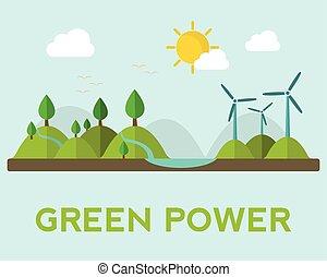 hydro, ligesom, generation magt, energi, faciliteter, geothermal, sol, udskiftelig, vind
