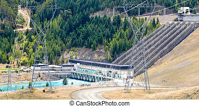 Hydro power generator transmission line pylons - Large scale...