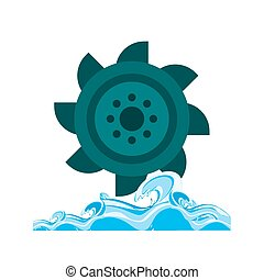 Hydro Power - Hydro power, water, dam icon vector image. Can...