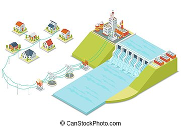 Hydro power plant. 3D isometric electricity concept. Energy ...