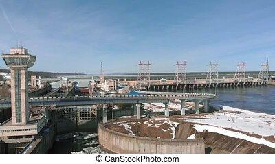 hydro power plant, aerial shoot - hydro power plant,...