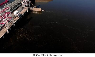 hydro power plant on the river, copter shoot - flight over...